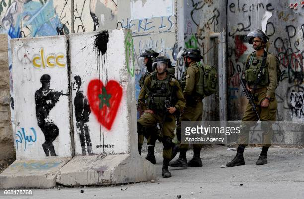 Israeli forces intervene to protesters as Palestinians take part in a protest demanding Israeliheld Palestinian bodies in Bethlehem West Bank on...
