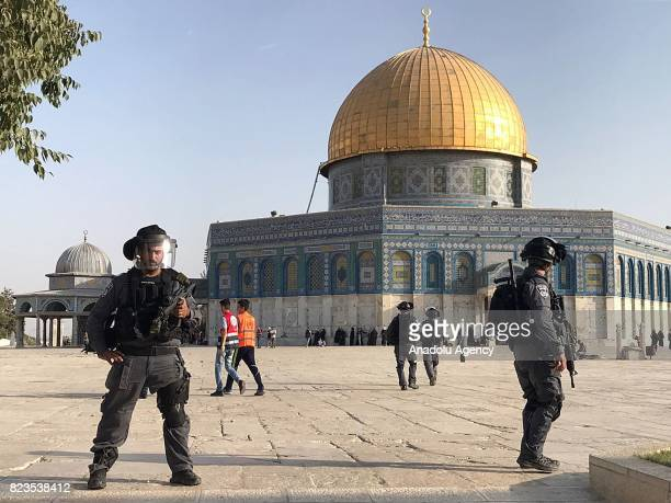 Israeli forces occupy the Al Aqsa Mosque Compound after dispersing the Palestinians who entered the area following the removal of Israeli security...