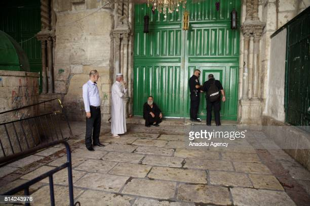 Israeli forces shut the AlAqsa Mosque's doors after three Palestinian men's who were allegedly attempted a shooting attack and shot dead by Israeli...
