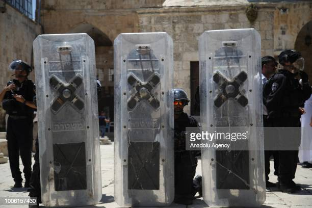 Israeli forces take measures after they close all the gates of alaram ashSharif of Al Aqsa Mosque after intervening with stun grenades in a protest...
