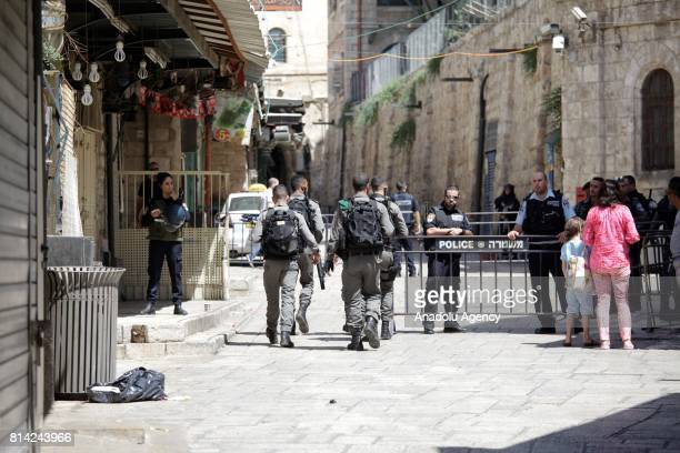 Israeli forces take security measurements after three Palestinian men's who were allegedly attempted a shooting attack and shot dead by Israeli...