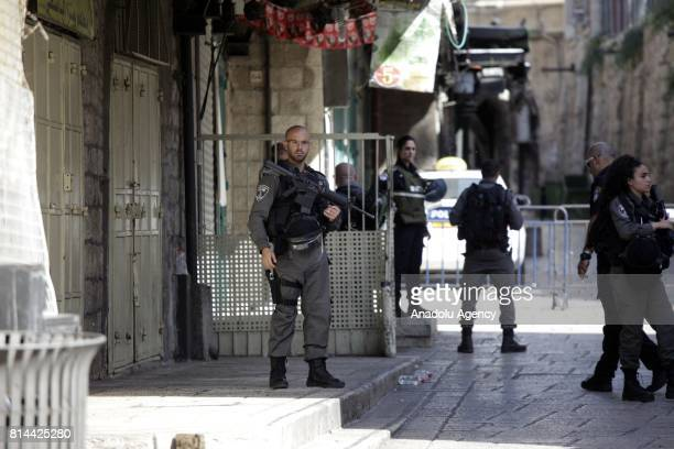 Israeli forces take security measures after three Palestinian men's who were allegedly attempted a shooting attack and shot by Israeli police death...