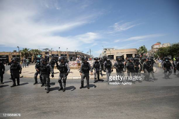 Israeli forces take security measures as dozens of Palestinian residents of Jaffa gather to protest the destruction of the historic Muslim Al-Isaf...
