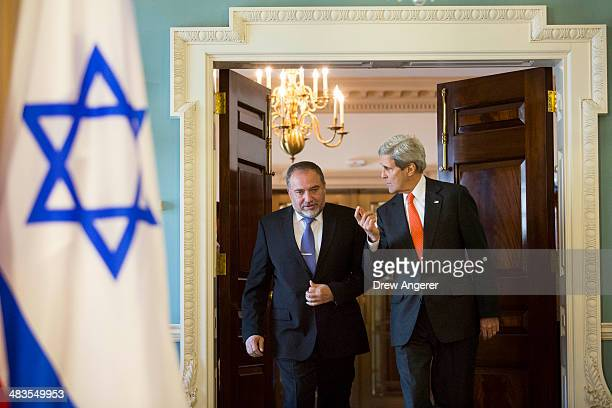 Israeli Foreign Minister Avigdor Lieberman and U.S. Secretary of State John Kerry arrive to speak to the media before meeting privately at the U.S....