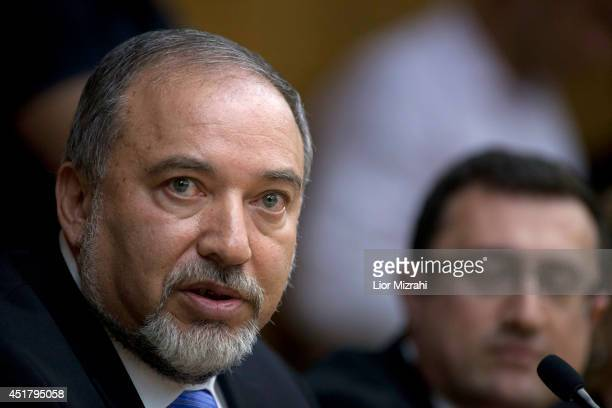 Israeli Foreign Minister Avigdor Lieberman speaks during a press conference at the Knesset on July 7, 2014 in Jerusalem, Israel. Lieberman announced...