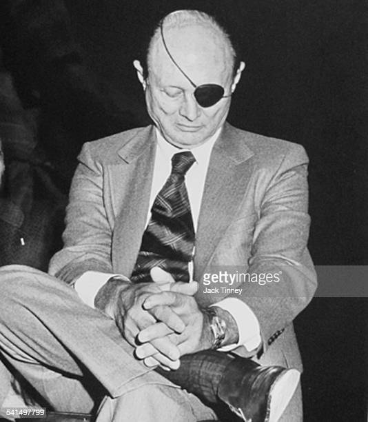 Israeli Foreign Minister Moshe Dayan sits crosslegged during a visit to the Young Men's Hebrew Association Philadelphia Pennsylvania 1978