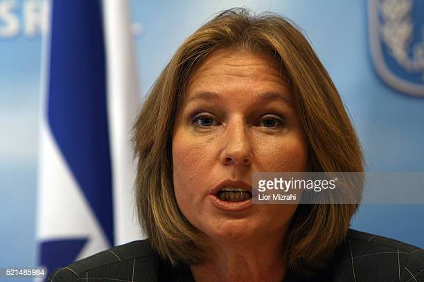 Israeli Foreign Minister Tzipi Livni speaks during a press conference at her office in Jerusalem Tuesday July 2006 Livni hinted Tuesday that Israel...