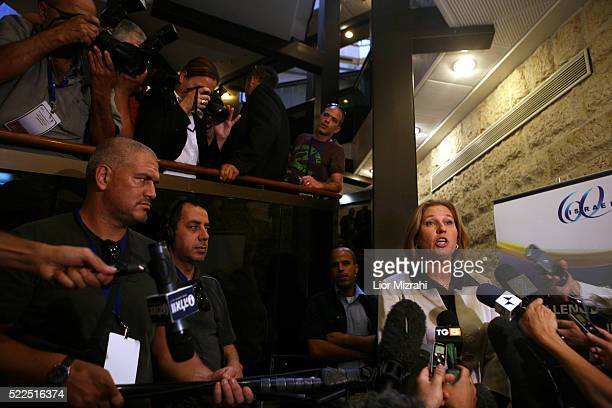 Israeli Foreign Minister Tzipi Livni speaks to reporters during a conference on May 29 2008 in Jerusalem Israel