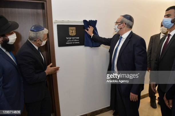 Israeli Foreign Minister, Yair Lapid attends the opening of Israeli Embassy in Abu Dhabi on June 29, 2021 in Abu Dhabi, United Arab Emirates. Yair...