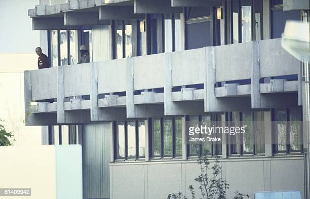 Israeli Hostage Crisis 1972 Summer Olympics Olympic official with terrorist in Olympic Village during crisis Munich FRG 9/5/1972