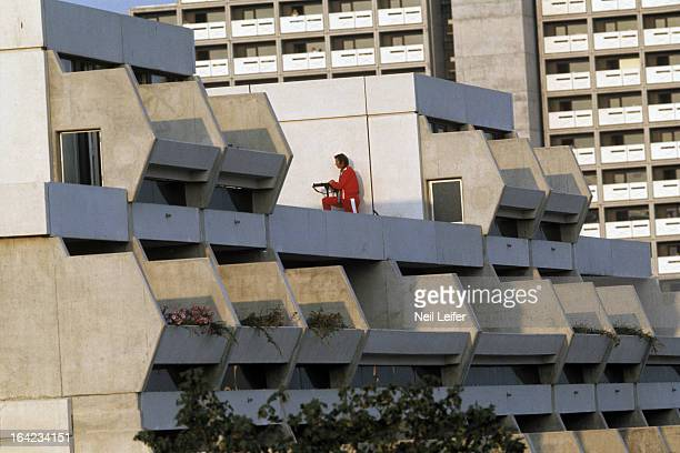 1972 Summer Olympics Police officer with gun rifle on rooftop during crisis at 31 Connollystrasse in Olympic Village 11 Israeli athletes and coaches...
