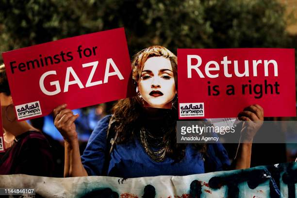 Israeli human rights activists hold a demonstration against 2019 Eurovision Song Contest near Tel Aviv Expo in Tel Aviv Israel on May 19 2019
