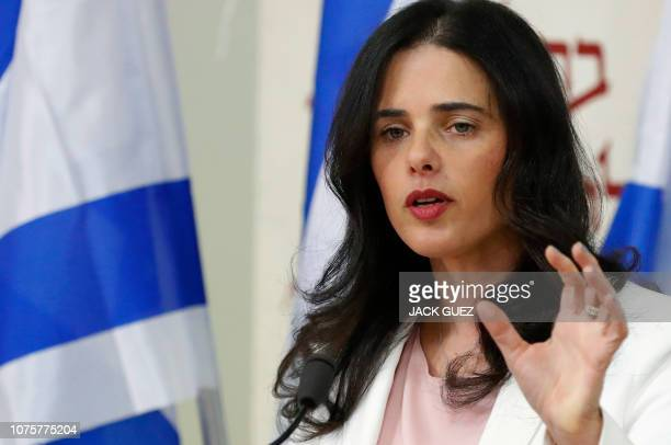 Israeli Justice Minister Ayelet Shaked and Israel's Minister of Education announce the formation of new political party HaYemin HeHadash or The New...