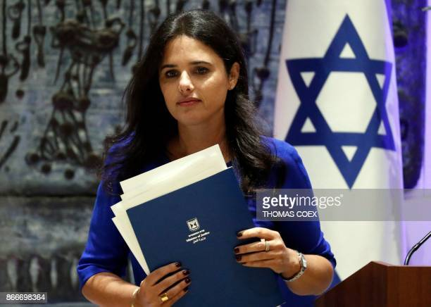 Israeli Justice minister Ayelet Shaked delivers a speech during the swearingin ceremony for the incoming Israeli president of the Supreme Court...