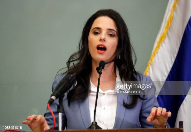 Israeli Justice Minister Ayelet Shaked gives a joint statement with the education minister at the Knesset in Jerusalem on November 19 2018 The...