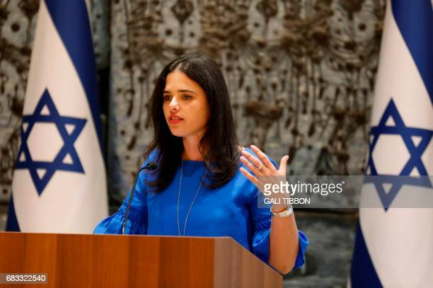 Israeli Justice Minister Ayelet Shaked speaks during the swearing in ceremony of Israeli Muslim Hana Khatib the first woman in Israel to be appointed...