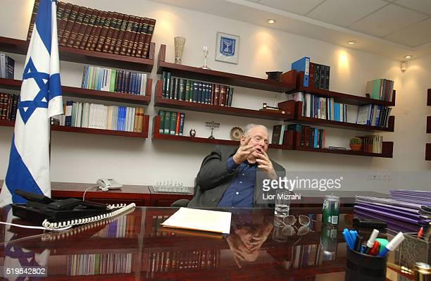 Israeli Justice Minister Yosef 'Tommy' Lapid speaks during an interview in his office on January 21 2004 in Jerusalem Israel