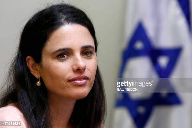 Israeli Knesset Member Ayelet Shaked of the farright Jewish Home party is seen on May 6 2015 during the negotiation with the Likud at the parliament...
