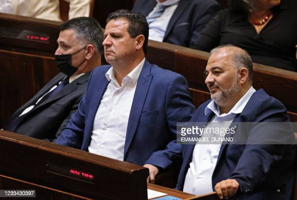 Israeli Knesset members Gideon Saar, head of Israel's New Hope party, Ayman Odeh, leader of the predominantly Arab Joint List and the Hadash party,...