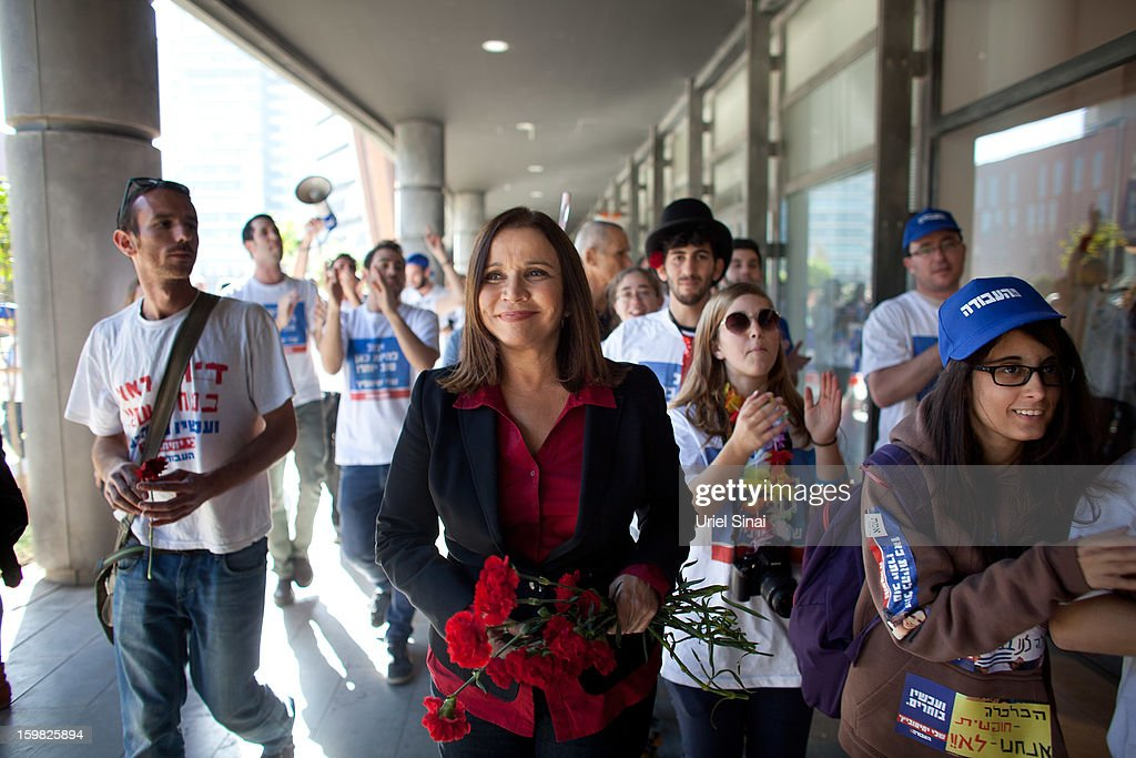 Israeli Labor party leader Shelly Yachimovich campaigns on January 21, 2013 in Tel Aviv, Israel. The Israeli general election will be held on January 22.