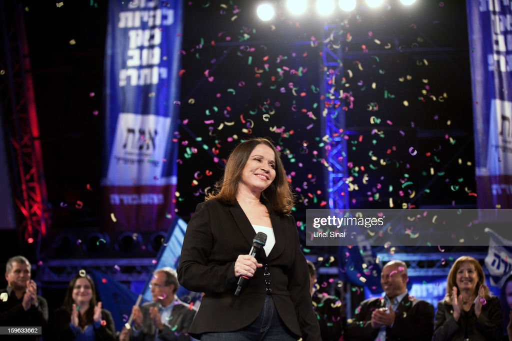 Israeli Labor party leader Shelly Yachimovich stands onstage during a campaign rally ahead of the upcoming Israeli elections on January 17, 2013 in Tel Aviv, Israel. Israeli elections are scheduled for January 22, and are reportedly showing a majority for the Israeli right.