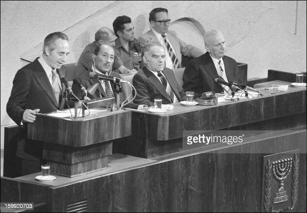 Israeli Labor party leader Shimon Peres addresses 20 November 1977 in Jerusalem the Knesset as Egyptian President Anwar alSadat and Israeli Foreign...