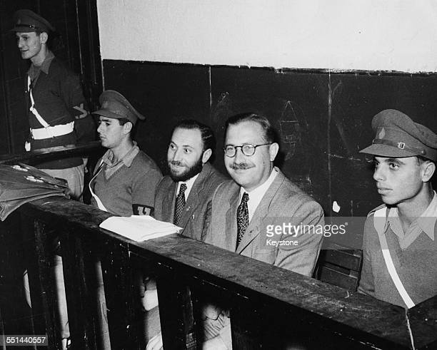 Israeli Lehi freedom fighters on trial for terrorism Mattayahn Shmulewiz and Nathan Friedman YellinMor in the courtroom at Acre December 13th 1948