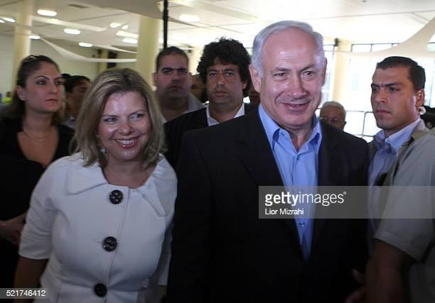 Israeli Likud party leader Benjamin Netanyahu and his wife Sara are seen on August 14 2007 in Jerusalem Israel