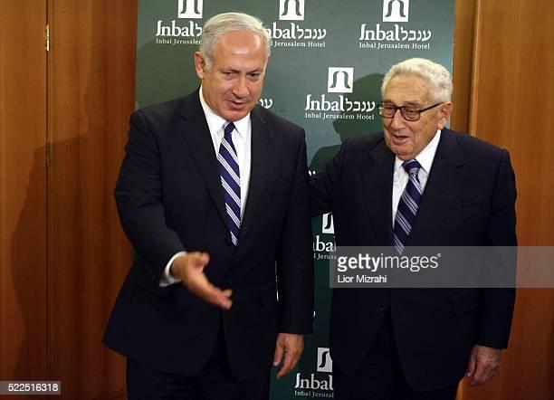 Israeli Likud party leader Benjamin Netanyahu meets with Former US Secretary of State Henry Kissinger on May 13, 2008 in Jerusalem, Israel.