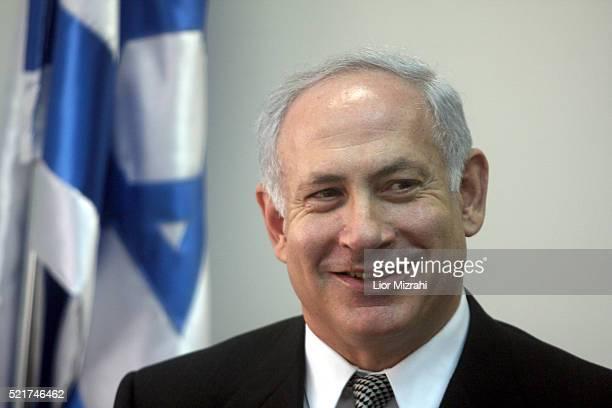 Israeli Likud party leader Benjamin Netanyahu smiles in the Knesset Israeli Parliament on December 31 2007 in Jerusalem Israel