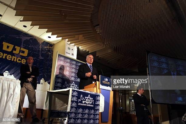 Israeli Likud party leader Benjamin Netanyahu speaks during a conference on February 20, 2008 in Jerusalem, Israel.