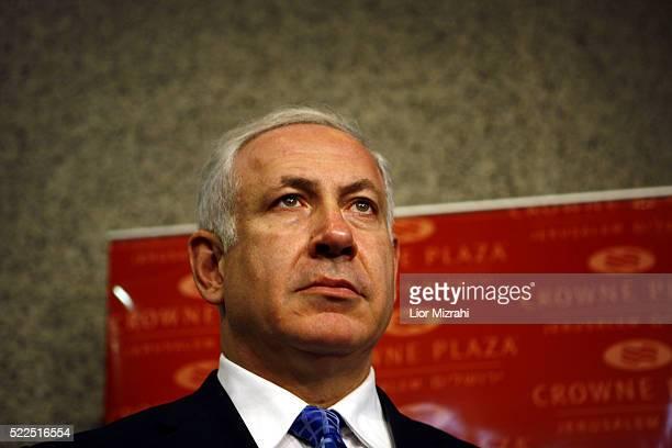 Israeli Likud party leader Benjamin Netanyahu speaks during a press conference on November 20, 2008 in Jerusalem, Israel.