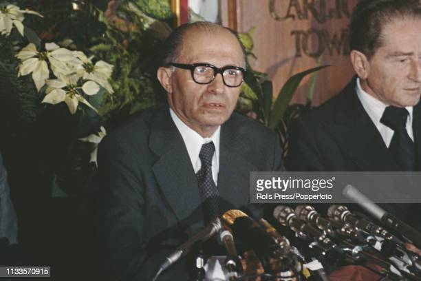Israeli Likud politician and Prime Minister of Israel, Menachem Begin pictured addressing a press conference at the Carlton Tower Hotel in London on...