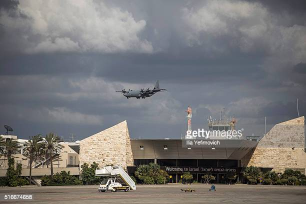 Israeli military aircraft landing at Ben Gurion Airport on March 20 2016 in Tel Aviv Israel Among at least four people killed in a suicide bombing in...