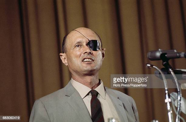 Israeli military leader and Defense Minister of Israel Moshe Dayan pictured speaking at a press conference in 1970