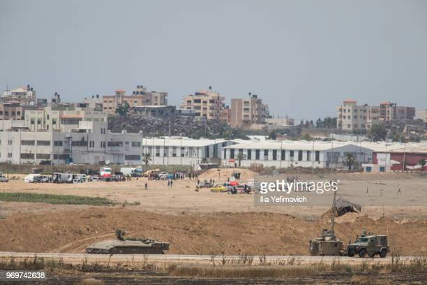 Israeli military seen along the border with Gaza on June 8 2018 in Jerusalem Israel Naksa is Arabic for setback Naksa Day is the anniversary of the...