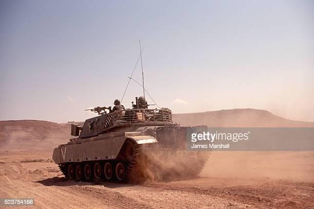 Israeli Military Tank on Maneuvers in Desert