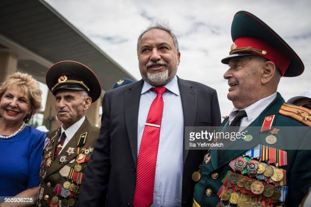 Israeli minister of defense Avigdor Liberman greeting the Veterans of the Red army celebrating and comemorating victory over Nazi Germany 73 yeras...