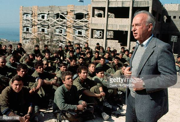 Israeli Minister of Defense, Yitzhak Rabin , addressing Israeli troops in Sidon during the first phase of the their withdrawal from Lebanon at the...