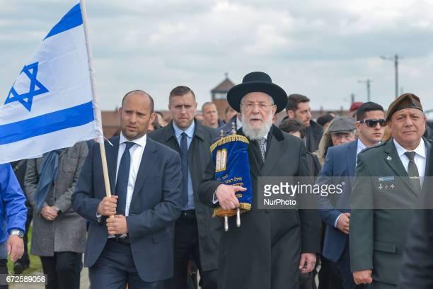 Israeli minister of Education Naftali Bennett Rabbi Yisrael Meir Lau the Chief Rabbi of Tel Aviv and Chairman of Yad Vashem and and IDF chief of...