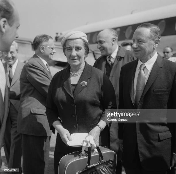 Israeli Minister of Foreign Affairs Golda Meir upon her arrival at Heathrow Airport London UK 22nd May 1961