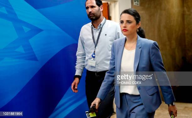 Israeli Minister of Justice Ayelet Shaked arrives ahead of the weekly cabinet meeting at the Prime Minister's office in Jerusalem on September 12 2018