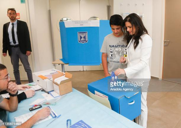 Israeli Minister of Justice Ayelet Shaked casts her vote during the Israeli general elections in Tel Aviv Israel on April 9 2019 Israeli voters on...