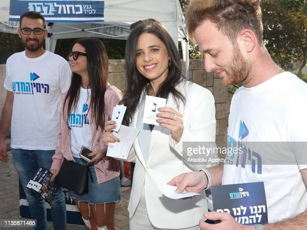 Israeli Minister of Justice Ayelet Shaked poses for a photo after casting her vote during the Israeli general elections in Tel Aviv Israel on April 9...