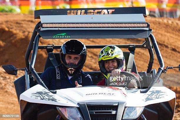Israeli Minister of Sports and Culture Miri Regev drives an ATV as part of the inauguration of the MX Wingate Motocross track near the Israeli city...