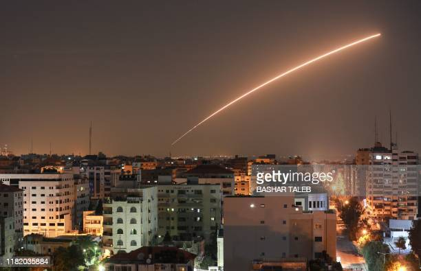Israeli missile launched from the Iron Dome defence missile system, designed to intercept and destroy incoming short-range rockets and artillery...
