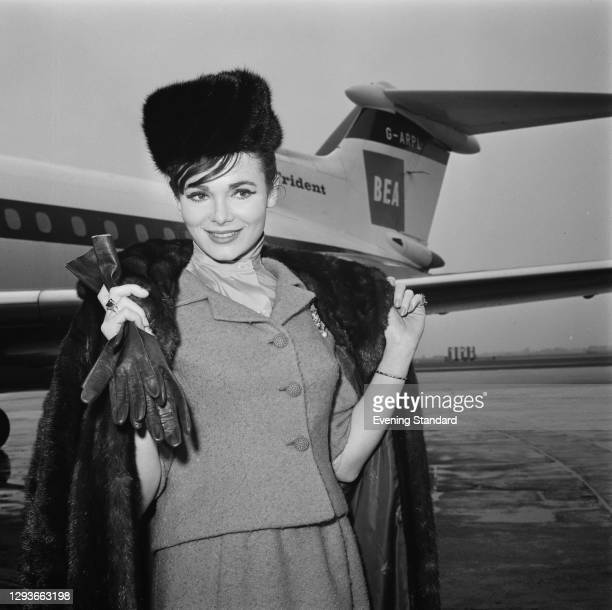 Israeli model and actress Gila Golan at London Airport, UK, 17th March 1966.