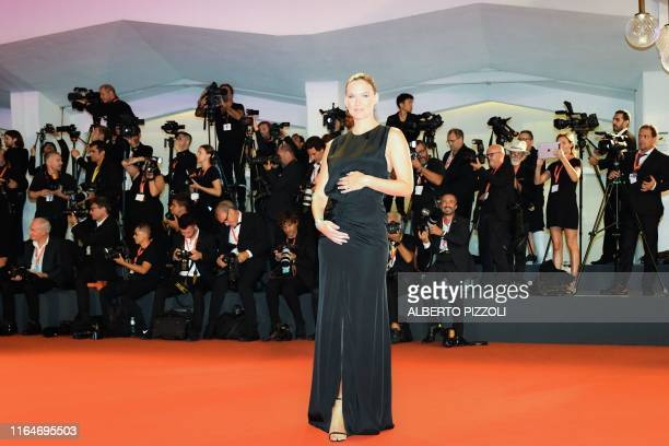 Israeli model Bar Refaeli arrives on August 29 2019 for the screening of the film Ad Astra during the 76th Venice Film Festival at Venice Lido