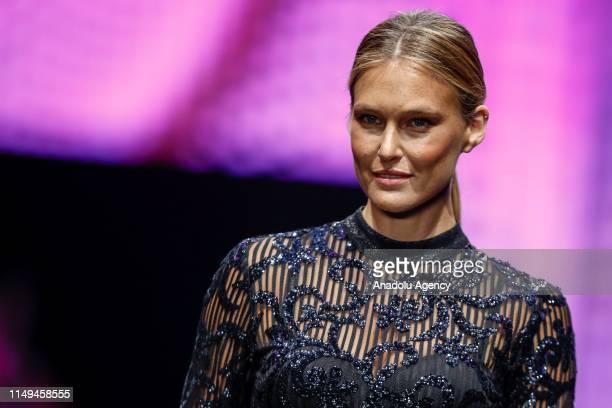 Israeli model Bar Refaeli takes the podium at Dosso Dossi Fashion Show in Antalya, Turkey on June 12, 2019.
