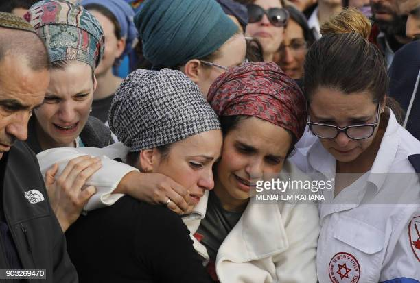 Israeli mourners attend the funeral of 35yearold rabbi Raziel Shevah in the West Bank wildcat settlement of Havat Gilad near the northern West Bank...